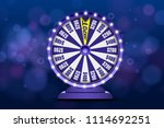 blue fortune wheel 3d object on ... | Shutterstock .eps vector #1114692251