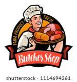 butcher shop logo or label.... | Shutterstock .eps vector #1114694261