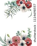 watercolor anemone floral card. ... | Shutterstock . vector #1114698557