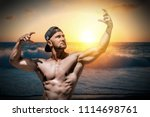 extremely fit guy posing and... | Shutterstock . vector #1114698761