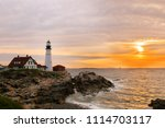 the portland head light under... | Shutterstock . vector #1114703117