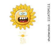 vector funky cartoon summer sun ...   Shutterstock .eps vector #1114709111