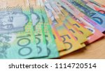 australian currency closeup of... | Shutterstock . vector #1114720514