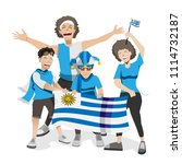 uruguay football fans. cheerful ... | Shutterstock .eps vector #1114732187