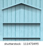 vintage wood shelf house shape | Shutterstock . vector #111473495