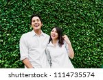 happy asian couple in love... | Shutterstock . vector #1114735574