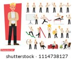 set of business people working... | Shutterstock .eps vector #1114738127