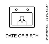 date of birth line icon.... | Shutterstock .eps vector #1114753154