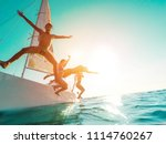 happy crazy friends diving from ... | Shutterstock . vector #1114760267