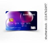 credit card design. mix blue... | Shutterstock .eps vector #1114762697