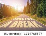 time for a break text written... | Shutterstock . vector #1114765577