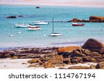boats in the port on the pink... | Shutterstock . vector #1114767194