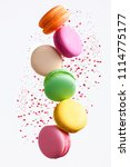 macaron sweets. colorful... | Shutterstock . vector #1114775177