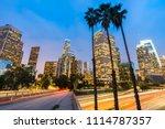los angeles downtown sunset  la ... | Shutterstock . vector #1114787357