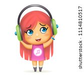 happy girl headphones listen... | Shutterstock .eps vector #1114810517