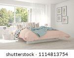 white bedroom with summer... | Shutterstock . vector #1114813754