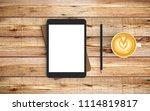 modern workspace with coffee... | Shutterstock . vector #1114819817