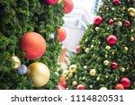 decorative christmas tree balls.... | Shutterstock . vector #1114820531