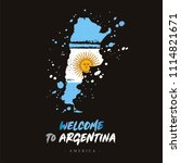 welcome to argentina. flag and... | Shutterstock .eps vector #1114821671