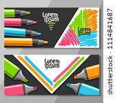 vector horizontal banners with... | Shutterstock .eps vector #1114841687
