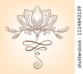 hand drawn vector lotus flower. ... | Shutterstock .eps vector #1114843139