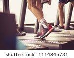 cardio exercise on treadmill. | Shutterstock . vector #1114845731