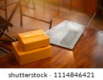 laptop  carton box  parcel of... | Shutterstock . vector #1114846421