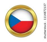 simple round czech golden badge ...