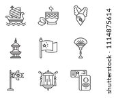 set of 9 simple editable icons... | Shutterstock .eps vector #1114875614