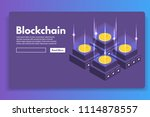 mining bitcoin farm ... | Shutterstock .eps vector #1114878557