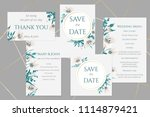 wedding cards with white lilies  | Shutterstock .eps vector #1114879421