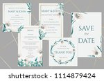 wedding cards with white lilies  | Shutterstock .eps vector #1114879424