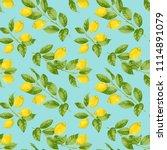 lemon brunches seamless pattern ... | Shutterstock .eps vector #1114891079