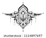 elegant tattoo with graphic ... | Shutterstock .eps vector #1114897697