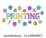 cartoon printing signs concept... | Shutterstock .eps vector #1114899857