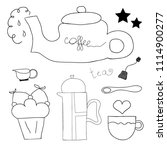 tea  coffee and desserts doodles | Shutterstock .eps vector #1114900277
