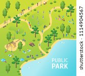 public park with people concept ... | Shutterstock .eps vector #1114904567