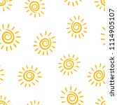hand drawn sun icon seamless... | Shutterstock .eps vector #1114905107