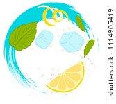 pattern lemonade  carbonated... | Shutterstock .eps vector #1114905419
