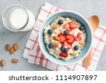 oatmeal porridge with fresh... | Shutterstock . vector #1114907897