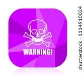 warning skull violet square... | Shutterstock .eps vector #1114910024