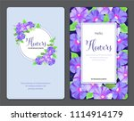 floral frame with morning glory ... | Shutterstock .eps vector #1114914179
