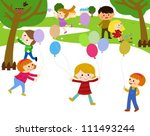 a group of kids playing in the ...   Shutterstock .eps vector #111493244