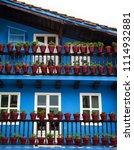 colorful facades of hondarribia ... | Shutterstock . vector #1114932881