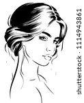 woman with wavy romantic... | Shutterstock .eps vector #1114943861