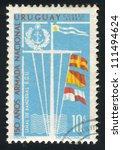 uruguay   circa 1968  stamp... | Shutterstock . vector #111494624