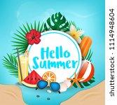 hello summer typographic on... | Shutterstock .eps vector #1114948604