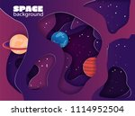 paper cut space colorful... | Shutterstock .eps vector #1114952504