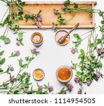 flat lay of glass jar with... | Shutterstock . vector #1114954505