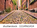historic acorn street at ... | Shutterstock . vector #1114961414